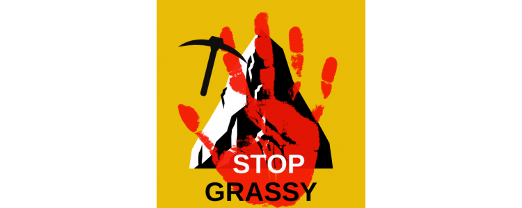 Stop Grassy Poster - red handprint in front of a mountain and pick
