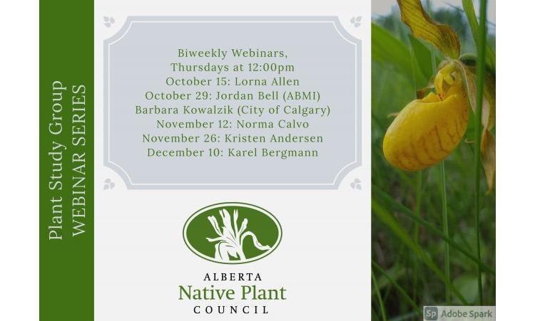 Plant Study Group Webinar Flyer - list of dates and speakers - photo of flower